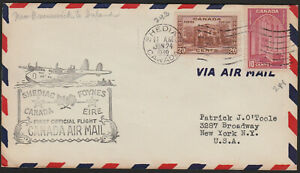 FIRST FLIGHT COVER - TRANS ATLANTIC - AAMC #3921f -1939- SHEDIAC, NB TO IRELAND