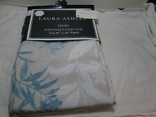 "New Laura Ashley TENBY Floral Rod Pocket Panels Two 40""x84"" ~ Blue, ivory, Beige"