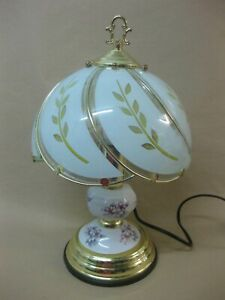 Vintage Touch Lamp Table Lamp ~ Brass Tone Ceramic & Glass Panels ~ Floral