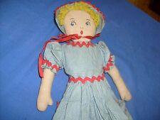 Vintage RAG DOLL Embroidered Face Polka  Farm Dress Felt Shoes Yarn Hair Antique