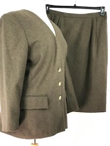 Le Suit Women Suit 2 Pc Jacket Pocket Skirt Straight Brown Size 18