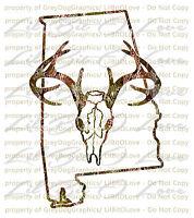 Camouflage Camo Alabama Buck Hunter Hunting Vinyl Decal Sticker Deer Skull Stag