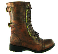 Womens Military Combat Round Toe Zipper Lace Up Buckle Fashion Boots Shoes Size