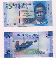 NEW: GHANA  5 Cedis  2017  Issue Commemorative Banknote, UNC Condition