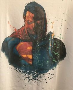Vintage Superman Thanos T-Shirt DC Comics Marvel Avengers End Game White Size M