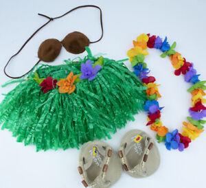 Build A Bear Hawaiian Hula Outfit Grass Skirt Lei Coconut Bra Sandals BAB