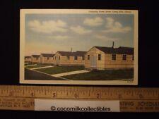 1943 Company Street Scene Camp Ellis Army Base World War II Color Linen Nice