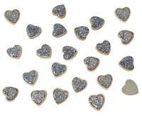 25 Gold Resin Hearts Filled with Iridescent Glitter Flat Back Embellishments