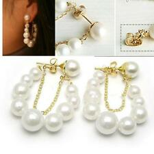 2015 Women Korean Fashion Jewelry White Pearl Earrings Ear Stud Earrings HOAU