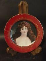 """Red & Gold Trimmed Portrait Woman Face Plate FLEUR DE LYS 8"""""""