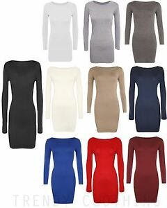 Womens Long Sleeve Bodycon Short Mini Dress Womens Top