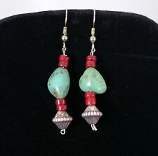 Vtg Natural Turquoise Red Coral Silver Southwestern Style Dangle Drop Earrings