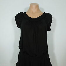 BCBG MAX AZRIA  Black Mini Dress, Smocked Elastic Neckline, Elastic Waist - S