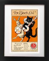 Antique BLACK CAT White Rabbit Banjo Playing Music Musical Repro Fine Art Print