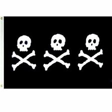 2x3 Jolly Roger Pirate Christopher Chris Condent 3 Skulls Super Poly Flag 2'x3'
