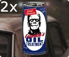 2x Piece Frankies Oil Treatment Sticker Sticker Frankenstein Rat Fink Hot Rod