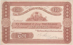 New Zealand (Nat Bank of NZ) 1872 10 Pound Unissued Printer's Proof Note Pick# P