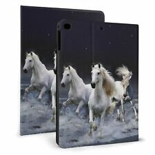 White Horse Running At Night Smart Stand Case for iPad 7/8th Air 1/2/3 2017/2018