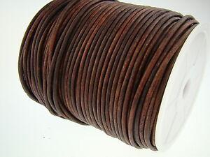 Lederschnur Rund 3 mm - Antik Braun. Lederband. Länge - wählbar