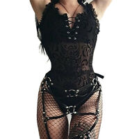 Steam Punk Gothic Women Romper Floral Lace Up Club Party Bodysuits Sleeveless