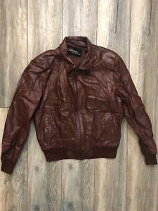 Wilson Oxblood Brown Retro Leather Jacket Size 42