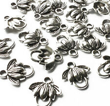 25 x Mini Lotus Flower Charm Connectors 12mm Silver tone, Jewellery Craft Yoga