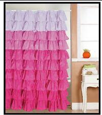 Flamenco tiered ruffle fabric  shower curtain bath