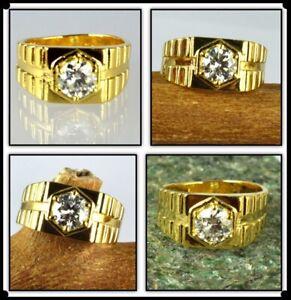 2.98 Ct Round White Diamond Solitaire Men's Gold Finish Ring-Investment Grade
