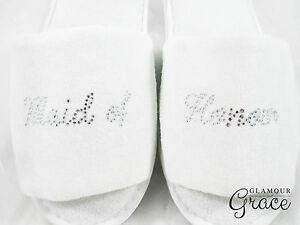 MAID OF HONOUR bridal party wedding personalised customised slippers hens silver