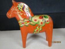 "Large Scandinavian Orange Decorated Dala Horse 8.5"""