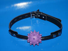 sale NEW BLACK LEATHER LOCKING STRAP LARGE PURPLE SPIKED RUBBER BALL GAG BALLGAG
