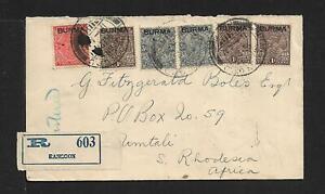 BURMA TO SOUTH RHODESIA COVER 1937 RARE DESTINATION