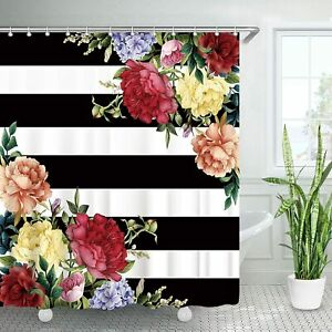 Gorgeous Peony Floral Black White Striped French Country Fabric Shower Curtain