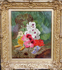 THOMAS WORSEY 1829-1875 BRITISH OLD MASTER OIL PAINTING STILL LIFE FLORAL