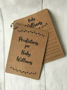 x10 personalised baby shower prediction cards game, a6 kraft card, unisex