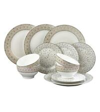 12 pc Silver White Spot Porcelain Dinner Set Service Tea Crockery