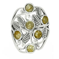 Leaves - Golden Rutile - Brazil 925 Sterling Silver Ring Jewelry s.7 BR23936 XGB