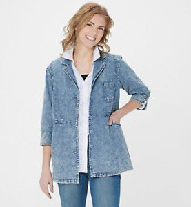 Joan Rivers 3/4-Sleeve Denim Shirt with Scoop Pockets - Marble Wash - XLarge