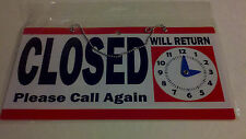 Open for Business Sign with Clock indicates when opening again for business New