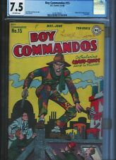 CGC 7.5 BOY COMMANDOS #15 1ST APPEARANCE CRAZY QUILT JACK KIRBY OFF-WHITE PAGES