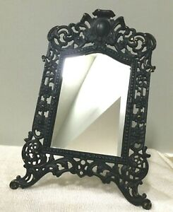 Vintage Black Painted Brass Art Nouveau Easel - Back Dresser Mirror