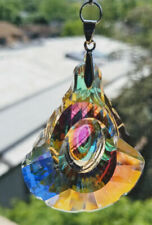Crystal faceted prism 63 AB suncatcher with chakra swarovski beads, silver clasp
