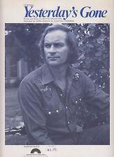 1977 SHEET MUSIC - YESTERDAY'S GONE - RECORDED BY VERN GOSDIN