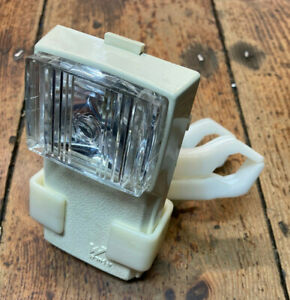 Retro Wonder White Plastic Bicycle Front Lamp with Handlebar Fitting 1980's Used