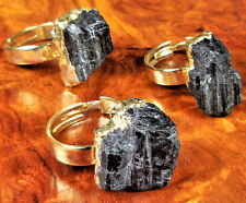 Raw Black Tourmaline Adjustable Gold Plated Ring LR55 Healing Crystals Stones