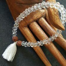 Rudraksha Himalayan Water Crystal Stretch Bracelet White Tassel  Mala