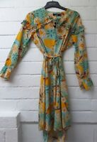 Womens Ladies New Mustard Dipped Hem Floral Tie Belt Dress UK 8-14