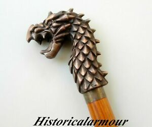 Antique Dragon Head Designer Handle Style Wooden Walking Stick Vintage Cane Gift