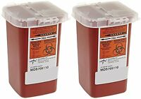Sharps Container Biohazard Needle Disposal - 1 Quart - Pack of 2