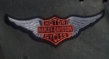 HARLEY DAVIDSON  DARK GREY WINGS  BAR & SHIELD 12 INCH RETRO  HARLEY PATCH